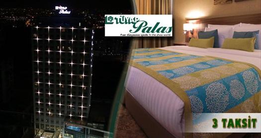 5 yıldızlı Tüyap Palas'ta kahvaltı dahil tek veya çift kişilik 1 gece konaklama ve tüm gün tesis kullanımı 320 TL yerine 149 TL! Fuar dönemi (9-13 Eylül) HARİÇ, Bayram dönemi DAHİL; 27 Eylül 2015 tarihine kadar haftanın her günü geçerlidir. Fırsata; deluxe odalarda çift kişilik 1 gece konaklama ve kahvaltı dahildir.