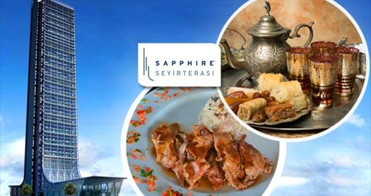 Avrupa'nın en yüksek binası Sapphire'in Seyir Terası'nda bulunan Vista Cafe & Bistro'da 1 kişilik iftar menüsü 130 TL yerine 59,90 TL! 18 Haziran-16 Temmuz 2015 tarihleri arasında, iftar saatinde geçerlidir. 54.Kat Seyir Terası için yukarı çıkış ücreti dahildir.