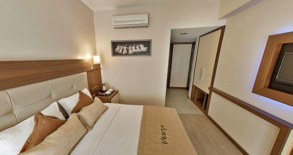 Konak'ta keyif ve konforun adresi Vesta Fuar Hotel'de kahvaltı dahil çift kişilik 1 gece konaklama 149 TL! Fırsatın geçerlilik tarihi için, DETAYLAR bölümünü inceleyiniz.