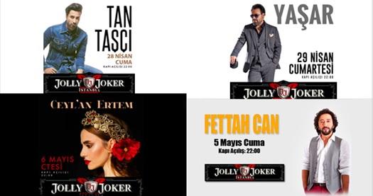 """Jolly Joker İstanbul Sahnesi'ndeki Nisan-Mayıs konserleri 44,90 TL'den başlayan fiyatlarla! Konser seçimi yapmak için """"HEMEN AL"""" butonuna tıklayınız."""