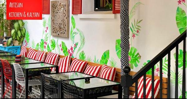 Yeşilköy Artisan Kitchen & Kalyan'da 2 kişilik keyifli yemek menüsü 45 TL! Fırsatın geçerlilik tarihi için DETAYLAR bölümünü inceleyiniz.