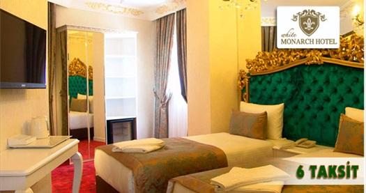 Şişli White Monarch Hotel'de kahvaltı dahil çift kişilik 1 gece konaklama keyfi 250 TL yerine 169 TL! Özel günler ve Bayram dönemi HARİÇ; 29 Aralık 2014 tarihine kadar, haftanın her günü geçerlidir. Fırsata, çift kişilik 1 gece konaklama ve kahvaltı dahildir.