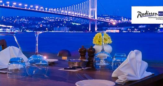 Ortaköy Radisson Blu Bosphorus Hotel'de Boğaz manzarası eşliğinde akşam yemeği 75 TL'den başlayan fiyatlarla! 30.9.2016 tarihine kadar; haftanın her günü akşam yemeklerinde geçerlidir.