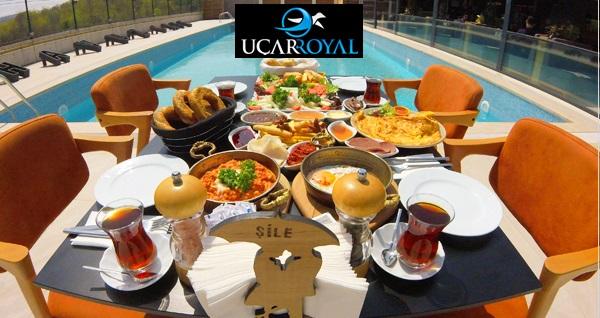 Şile Uçar Royal Hotel'de havuz başı zengin serpme kahvaltı menüsü 29,90 TL! Fırsatın geçerlilik tarihi için DETAYLAR bölümünü inceleyiniz.