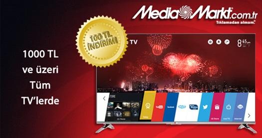 Mediamarkt.com.tr'den 1000 TL ve üzeri tüm TV alımlarında geçerli anında 100 TL indirim çeki 5 TL! 15-21 Eylül 2014 tarihleri arasında geçerlidir.