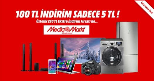 Mediamarkt.com.tr'den 1000 TL ve üzeri alışverişlerde geçerli anında 100 TL indirim kodu 5 TL! 25 - 30 Kasım tarihleri arasında geçerlidir. 30 Kasım'a kadar tüm ürünlerde ÜCRETSİZ KARGO hizmeti vardır.