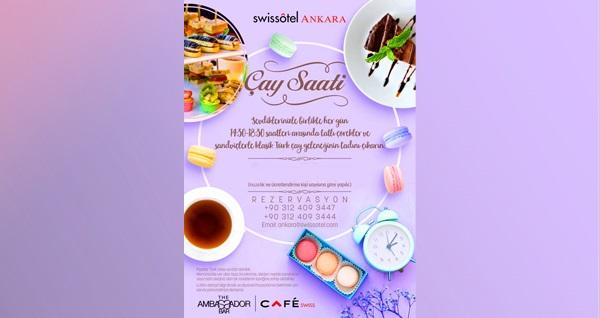 Swissotel Ankara'da sevdiklerinizle birlikte her gün geçerli olan çay saati menüsü 55 TL! Fırsatın geçerlilik tarihi için DETAYLAR bölümünü inceleyiniz.