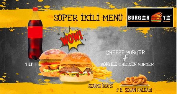Kızılay Burger Ye'de enfes süper ikili menü 34,90 TL! Fırsatın geçerlilik tarihi için DETAYLAR bölümünü inceleyiniz.