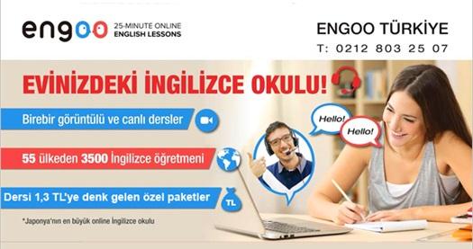 Engoo Türkiye'de 1 aylık online İngilizce eğitimi 185 TL yerine 39 TL! 31.05.2016 tarihine kadar geçerlidir. Dersler 25 dakika sürmektedir, eğitim süresi 1 aydır ve toplam 750 dakikadır. tr.engoo.com'a kayıt gereklidir.