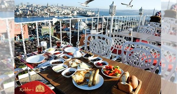 Kubbe-i Aşk'ta muhteşem Boğaz manzarasına nazır 2 kişilik enfes serpme kahvaltı menüsü 59,90 TL! Fırsatın geçerlilik tarihi için DETAYLAR bölümünü inceleyiniz.