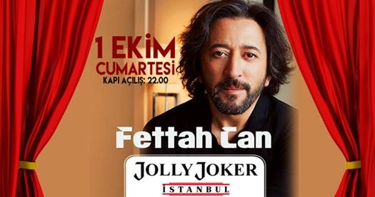 1 Ekim'de Jolly Joker İstanbul sahnesinde gerçekleşecek Fettah Can konserine biletler 34,90 TL! 1 Ekim 2016   22.00   Jolly Joker İstanbul