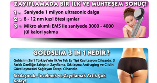 GOLDSLIM 3 in 1 kavitasyon cihazı 2 adet sıkılaştırıcı jel hediyesi ile 599 TL yerine 199 TL! Bonus, World, Axess ve CardFinans'a 3 taksit seçeneği ve tüm Türkiye'ye ÜCRETSİZ kargo hizmeti vardır.