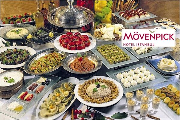 Mövenpick Hotel Istanbul'da canlı fasıl eşliğinde Türk ve Osmanlı mutfağının geleneksel lezzetlerinden oluşan iftar büfesi 180 TL yerine 88 TL! Bu fırsat 16 Mayıs - 14 Haziran 2018 tarihleri arasında, iftar saatinde geçerlidir.