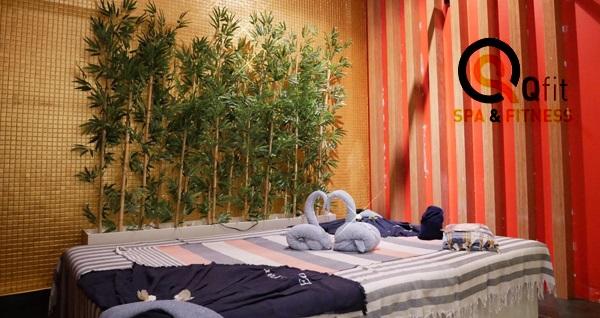 Qfit Spa Merkezi'nde ıslak alan kullanımı dahil 50 dakika masaj uygulaması
