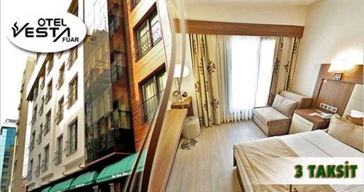 Konak'ta keyif ve konforun adresi Vesta Fuar Hotel'de kahvaltı dahil çift kişilik 1 gece konaklama keyfi 190 TL yerine 139 TL! Özel günler HARİÇ: 29 Aralık 2015 tarihine kadar, haftanın her günü geçerlidir. Fırsata, çift kişilik 1 gece konkalma ve kahvaltı dahildir.