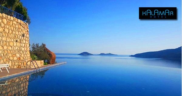 Kaş Kalkan Kalamar Hotel'de sonsuzluk havuzu ve açık havuz girişi 19,90 TL! Fırsatın geçerlilik tarihi için DETAYLAR bölümünü inceleyiniz.