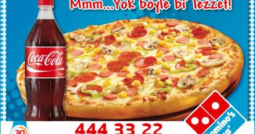 Tüm Dominos Pizza şubelerinde Bir Orta Boy Karışık Pizza Ve 1 Lt